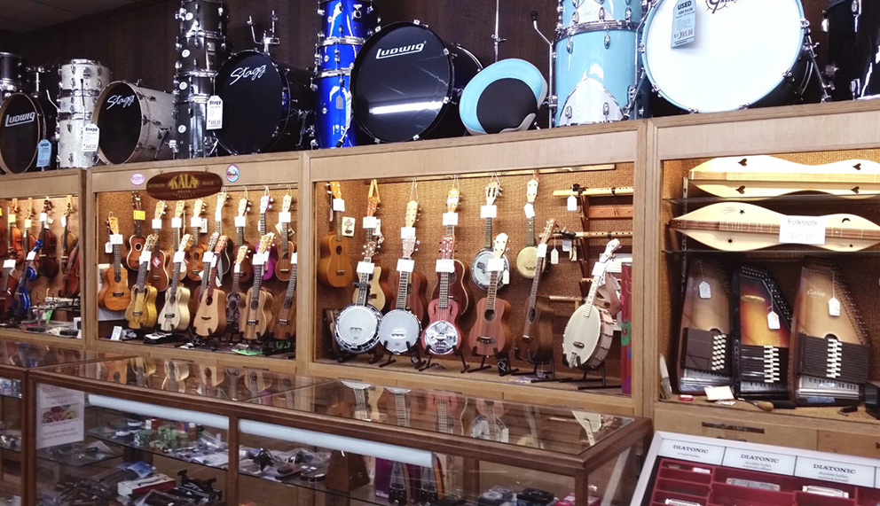 Ukuleles and guitar accessories at Arthur's Music Store