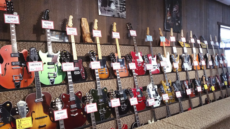 Electric guitars at Arthur's Music Store in Indianapolis, IN