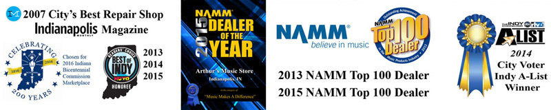 Arthur's Music Store is a NAMM Top 100 dealer, Indianapolis magazine award winner, and NAMM dealer of the year