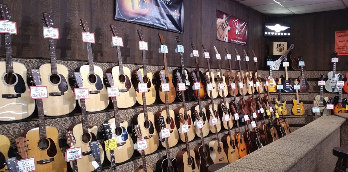 Acoustic guitars at Arthur's Music Store