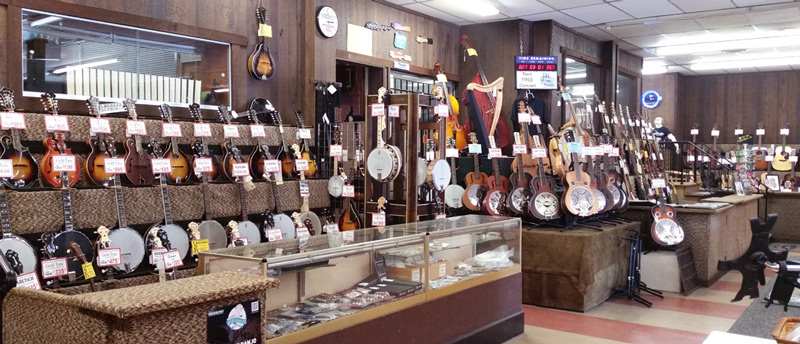 Mandolins, banjos, and resonators at Arthur's Music Store