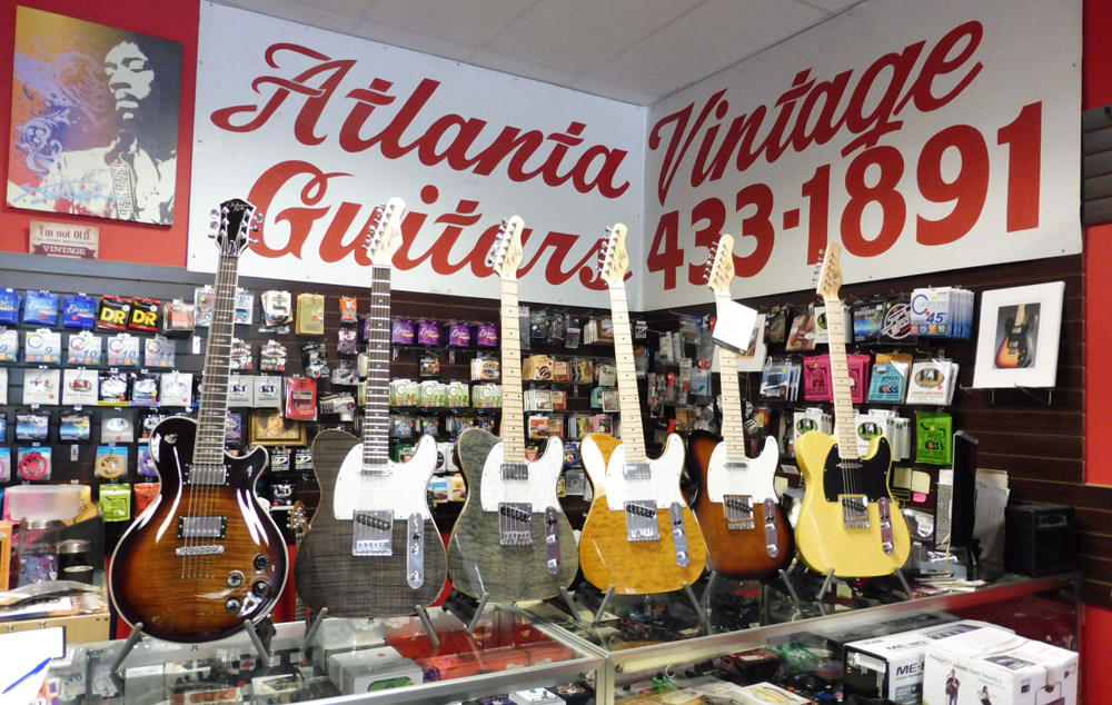 Michael Kelly 1950s and Patriot electric guitars at Atlanta Vintage Guitars in Marietta, GA
