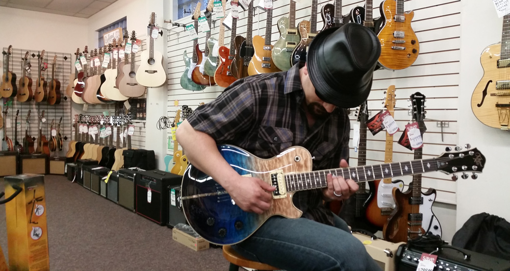 Michael Kelly Patriot Eclipse electric guitar in action at Pfabe's Music