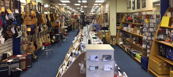 Inside view of RST Music and store inventory