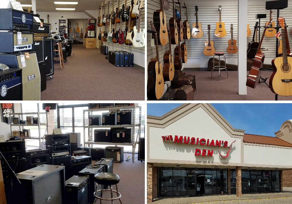 Electric guitars, acoustic guitars, and amplifiers at The Musician's Den