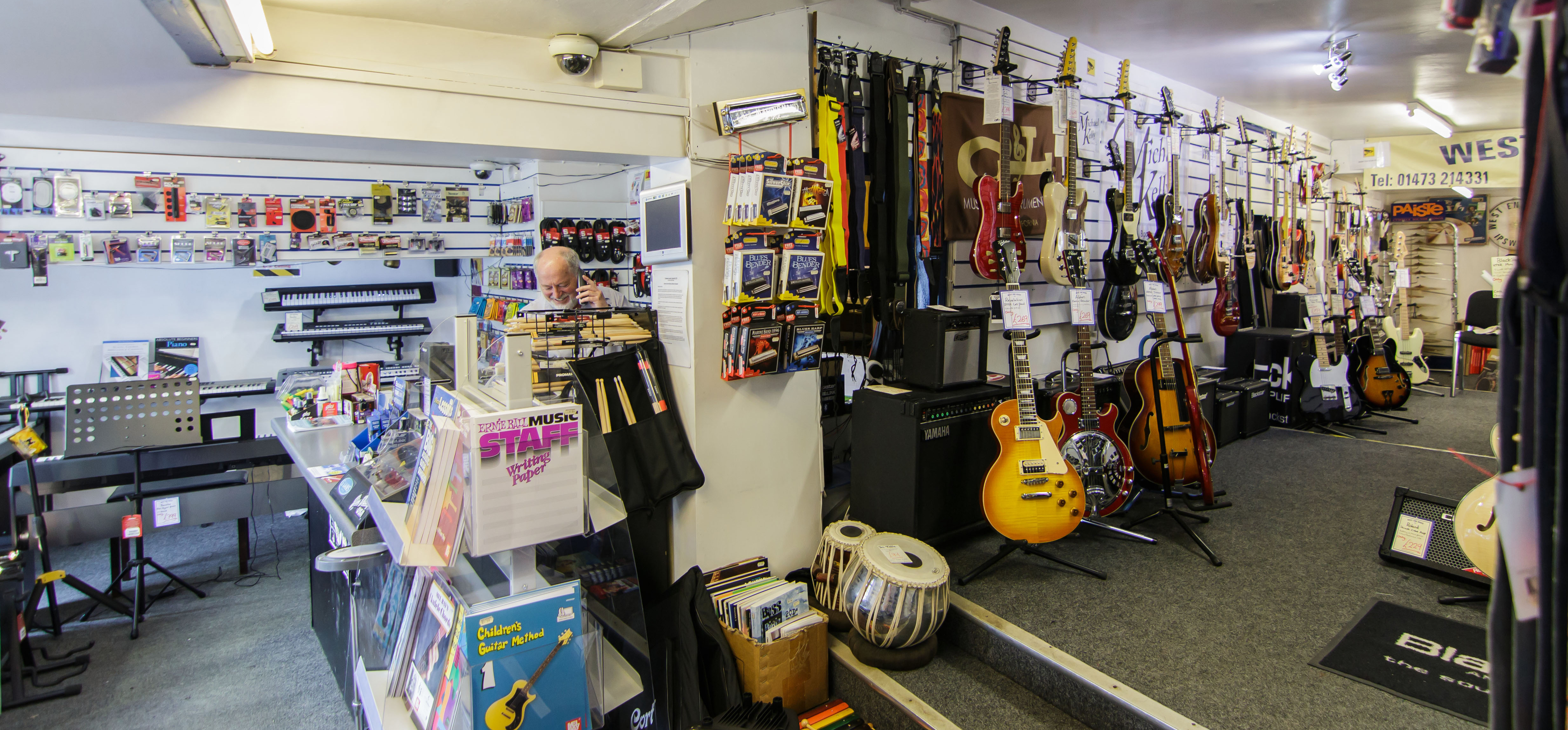 West End Music store has guitar accessories, straps, amps, music books, and more