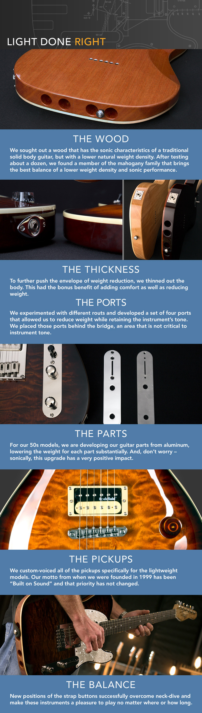 Description of new ultralight enlightened guitars